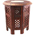 """WellPackBox 15"""" Hand Carved Octagon Coffee Table End Brass Inlay End"""