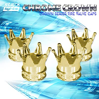 Gold Crown Tire Wheel Stem Air Valve Caps Car Truck Hot Rod Bike US - 4PCS Set: Automotive