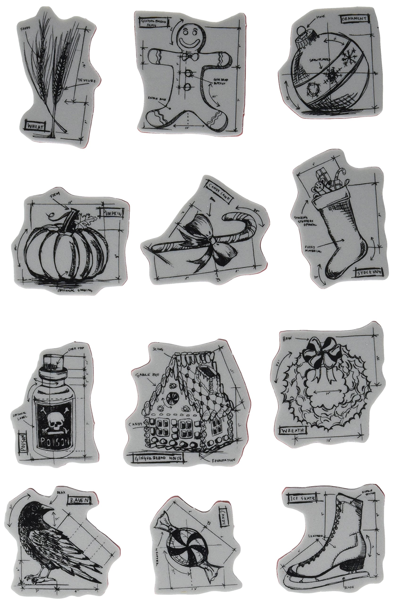 Stampers Anonymous Tim Holtz Cling Rubber Stamp Set, 7-Inch by 8.5-Inch, Mini Blueprints Number 5