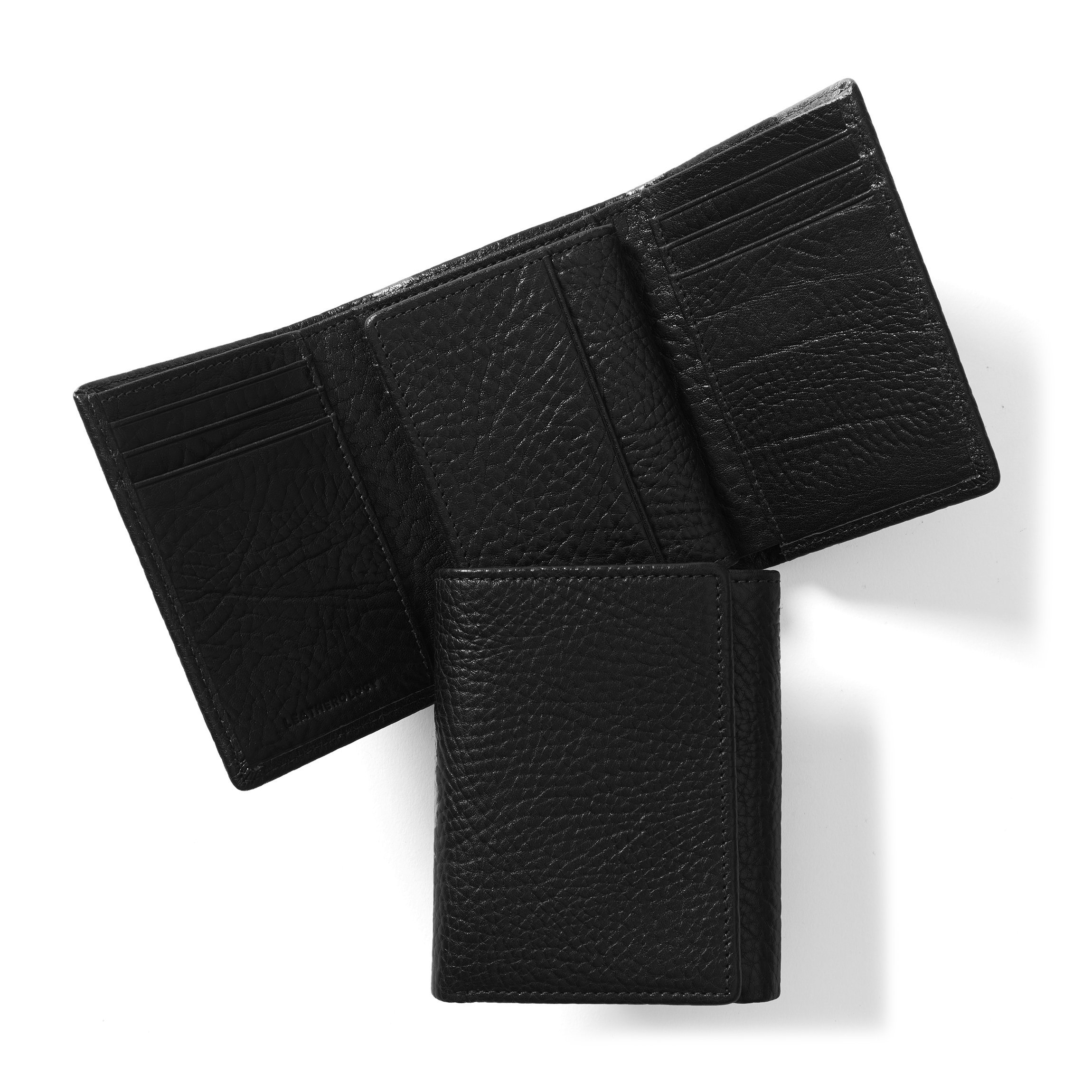 Trifold with Card Wallet - Full Grain Italian Leather Leather - Ebony (black)