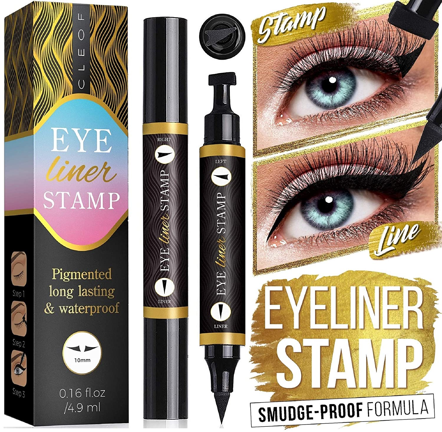 Eyeliner Stamp – One Second Perfect Wings – Quick and Easy to Use - Extremely Pigmented, Waterproof, Smudge-Proof - CrueltyFree and Vegan - for Perfect Cat Eyes (10 mm)