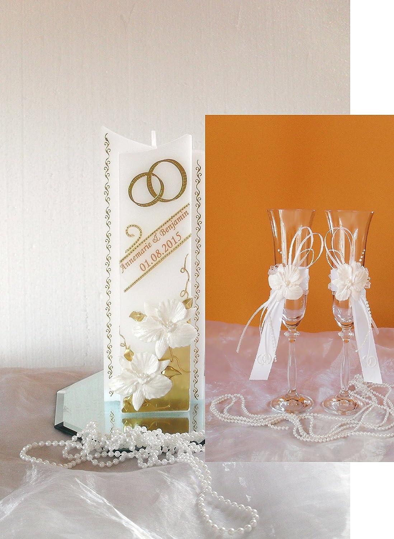 aus Wachs sehr Edel ink.Namen,Datum. Hochzeit,Hochzeitsgeschenk 3D Orchideen Hochzeitskerze-Traukerze-Brautkerze