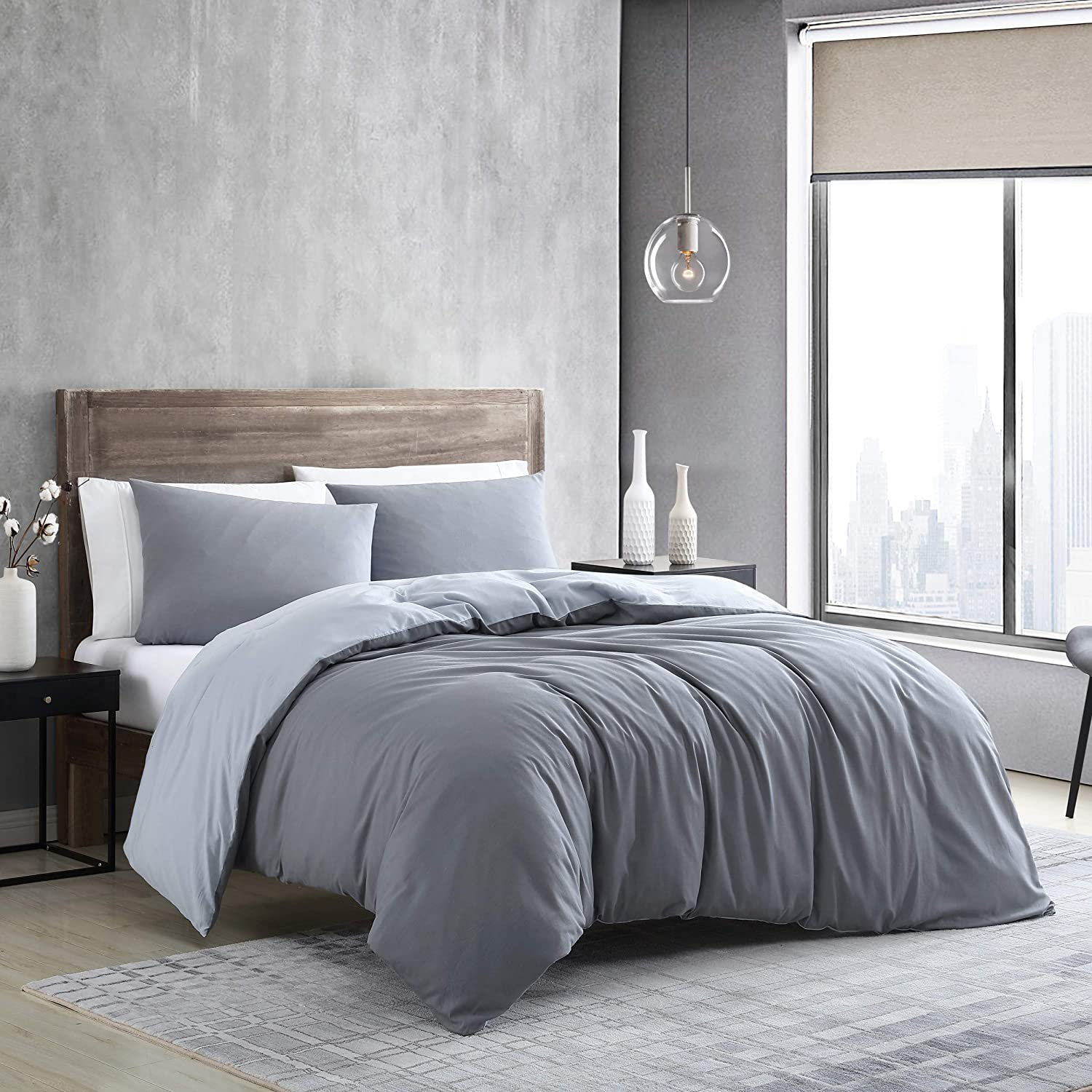 Kenneth Cole New York | Miro Collection | Duvet Cover Set - Cool and Sustainable Fabrics, Reversible Coverlet with Button Enclosures & Corner Ties, King, Smoke Grey