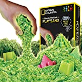 NATIONAL GEOGRAPHIC Play Sand - 2 LBS of Sand with Castle Molds and Tray (Glow-in-the-Dark!) - A Kinetic Sensory Activity