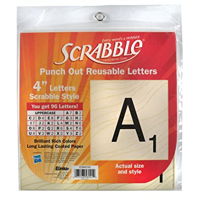 Eureka Back to School Scrabble Punch Out Deco Letters Classroom Decorations, 96 pc, 4'' (845153) : Childrens Paper Craft Kits : Office Products