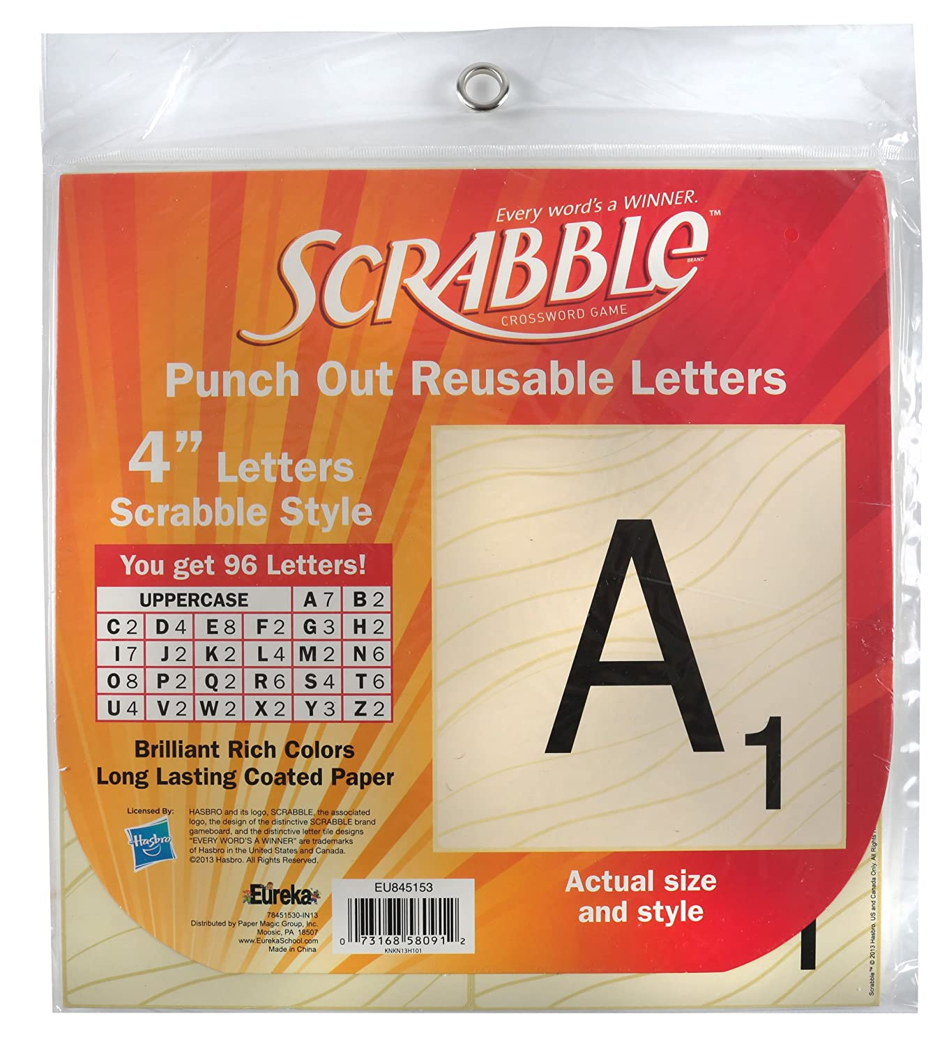 Eureka Back to School Scrabble Punch Out Deco Letters Classroom Decorations, 96 pc, 4''