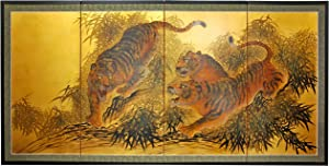 "Oriental Furniture 36"" Gold Leaf Tigers on the Move"