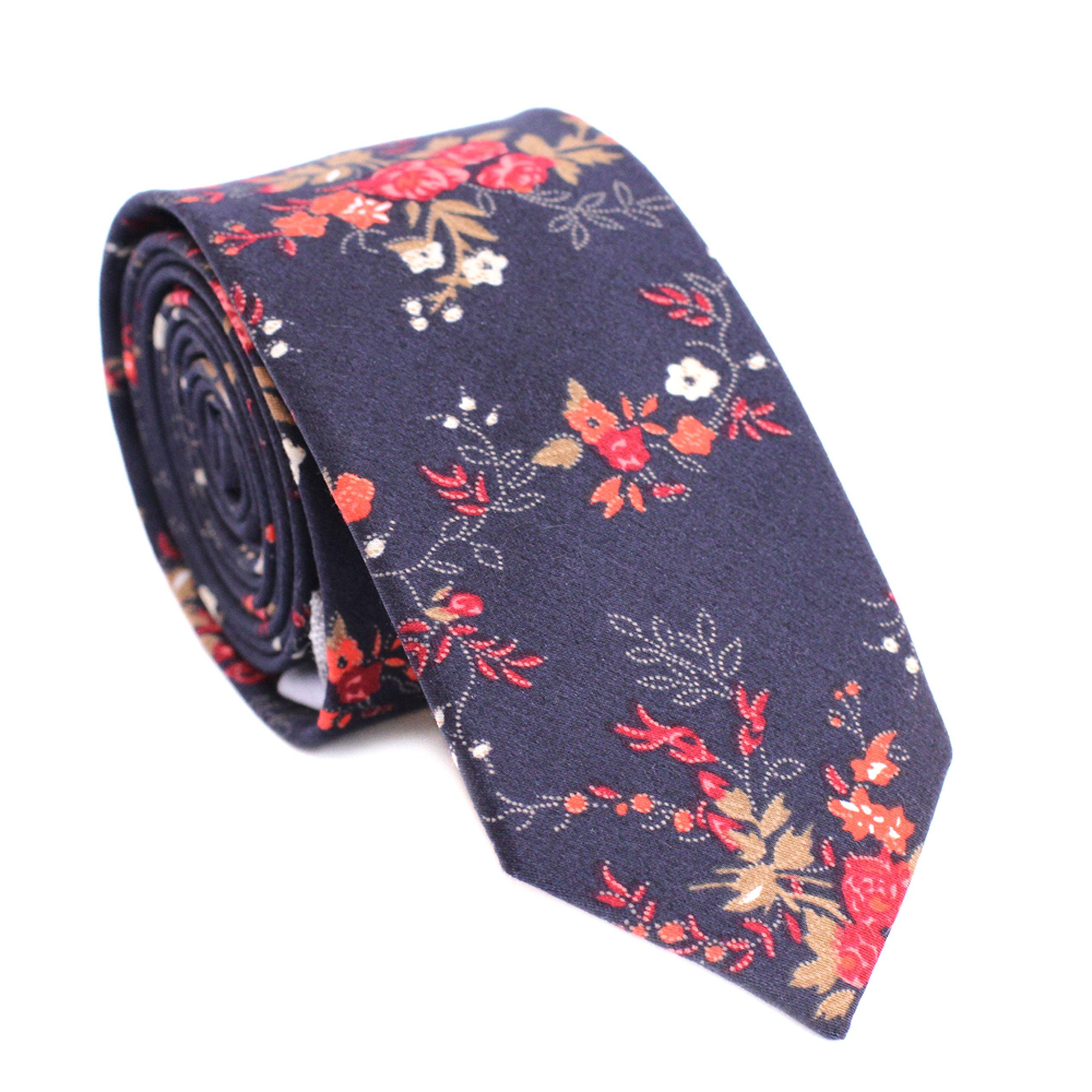 DAZI Men's Skinny Tie Floral Print Cotton Necktie, Great for Weddings, Groom, Groomsmen, Missions, Dances, Gifts. (Coral Flor)