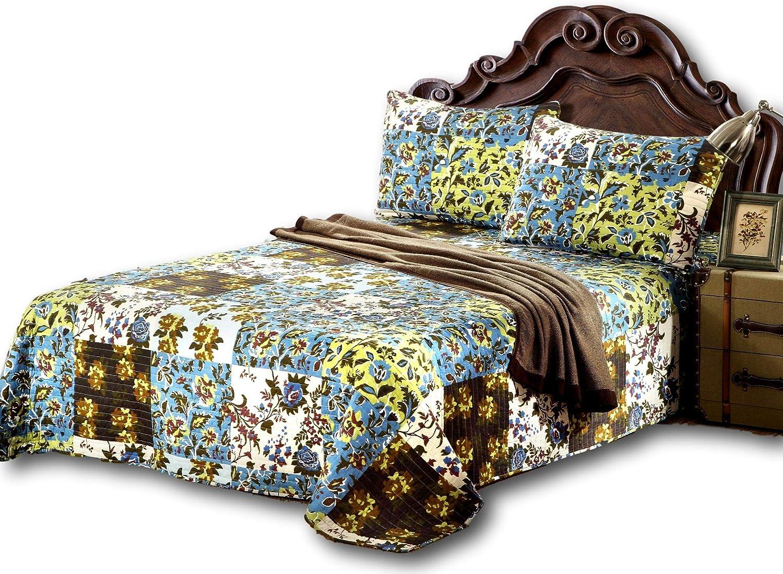 Tache Home Fashion KST1504-Full Tache 3 Pc Cotton Floral Blue Hawaiian Leaves Reversible Bedspread Quilt Set, Full, Mystical Autumn