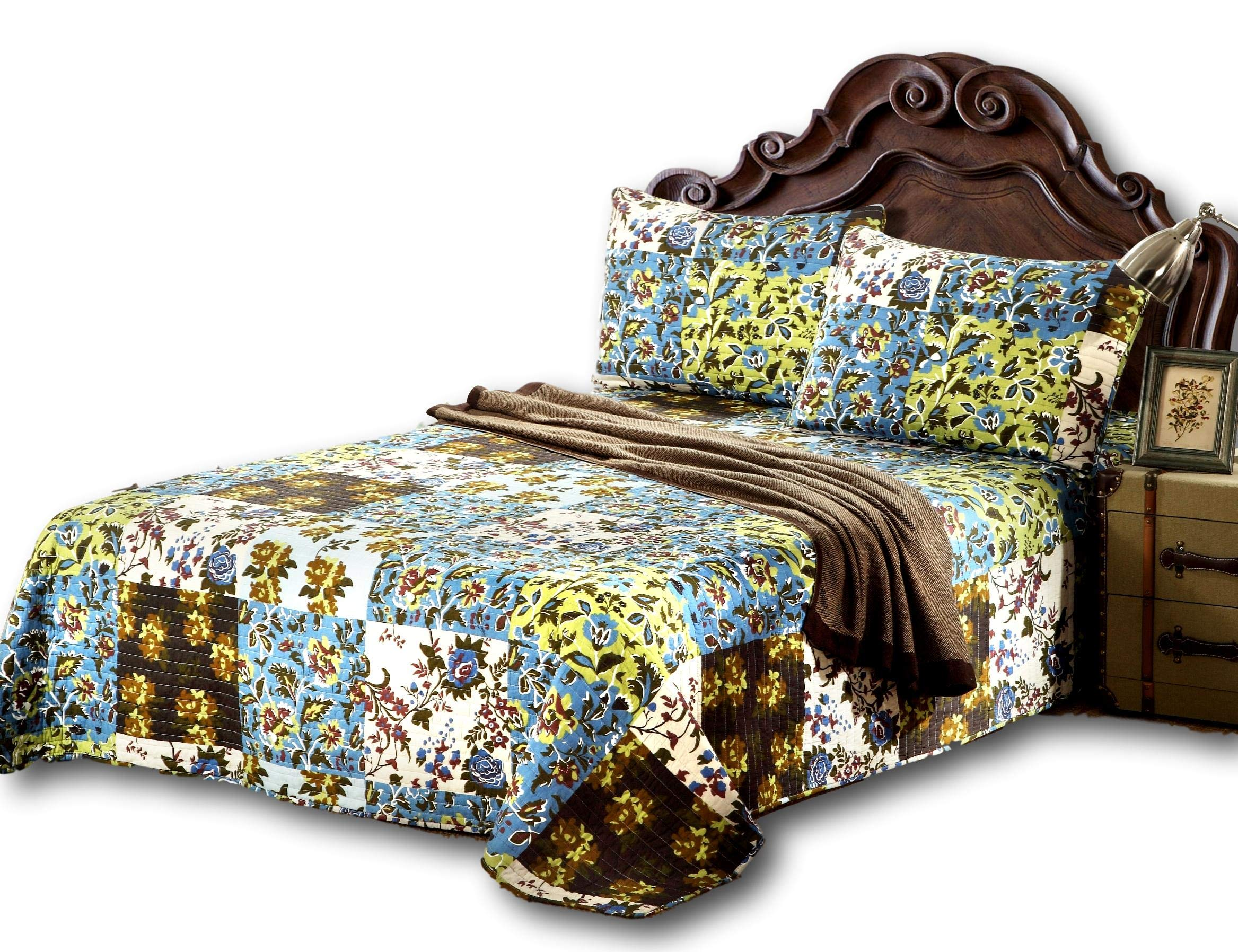 Tache Home Fashion KST1504-Cal King 3 Piece 100% Cotton Floral Blue Mystical Autumn Leaves Reversible Bedspread Quilt Set, California King