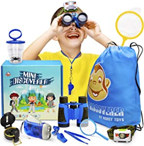 Outdoor Explorer Kit - Bug Catcher Kit for Kids & Binoculars for Kids - Great Gift for Boys & Girls - Best for 3, 4, 5, 6, 7, 8, 9 & 10 Year Old   Magnifying Glass, Flashlight, Compass, Butterfly Net
