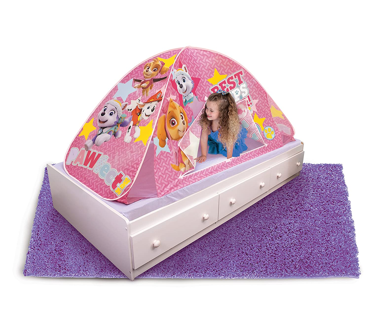 Paw Patrol 2 in 1 Tent Pink Playhut Bed Floor Tunnel Kids ...