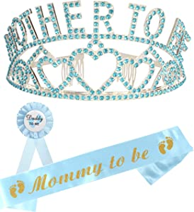 Baby Shower Decoration for Boy, Mother to Be Tiara, Mom to Be Sash, Dad to Be Pin, Baby Shower Party Favors Decorations Gift Boy or Girl, It's a Boy, Great Gifts for New Mom