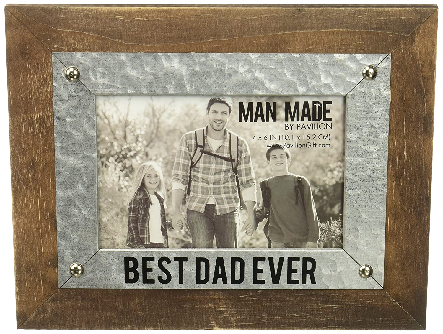 Pavilion - Best Dad Ever - Wood and Metal 4x6 Picture Frame Pavilion Gift Company 14273