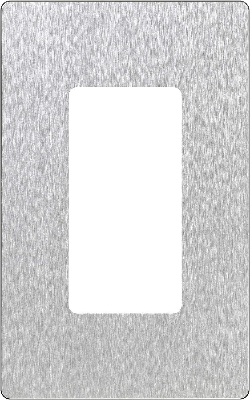 Lutron Claro 1 Gang Decorator Wallplate, CW-1-SS, Stainless Steel