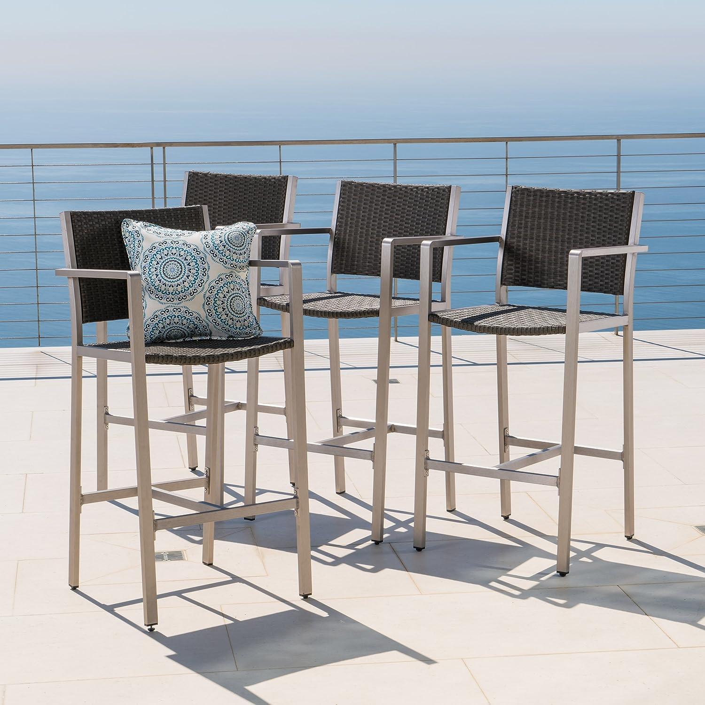 Capral Outdoor Grey Wicker Barstools Set of 4