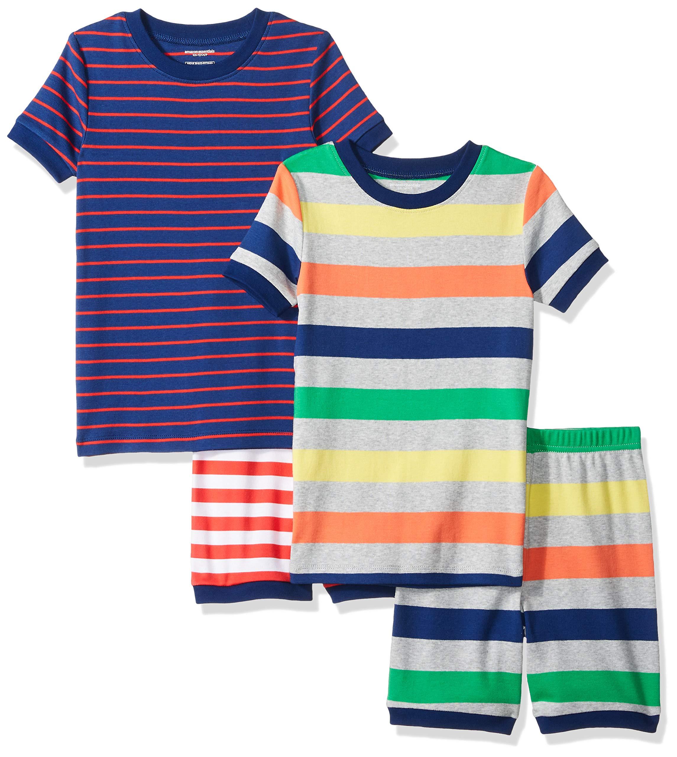 Amazon Essentials Little Boys' 4-Piece Sleeve Short Pajama Set, Multistripes, S (6-7)