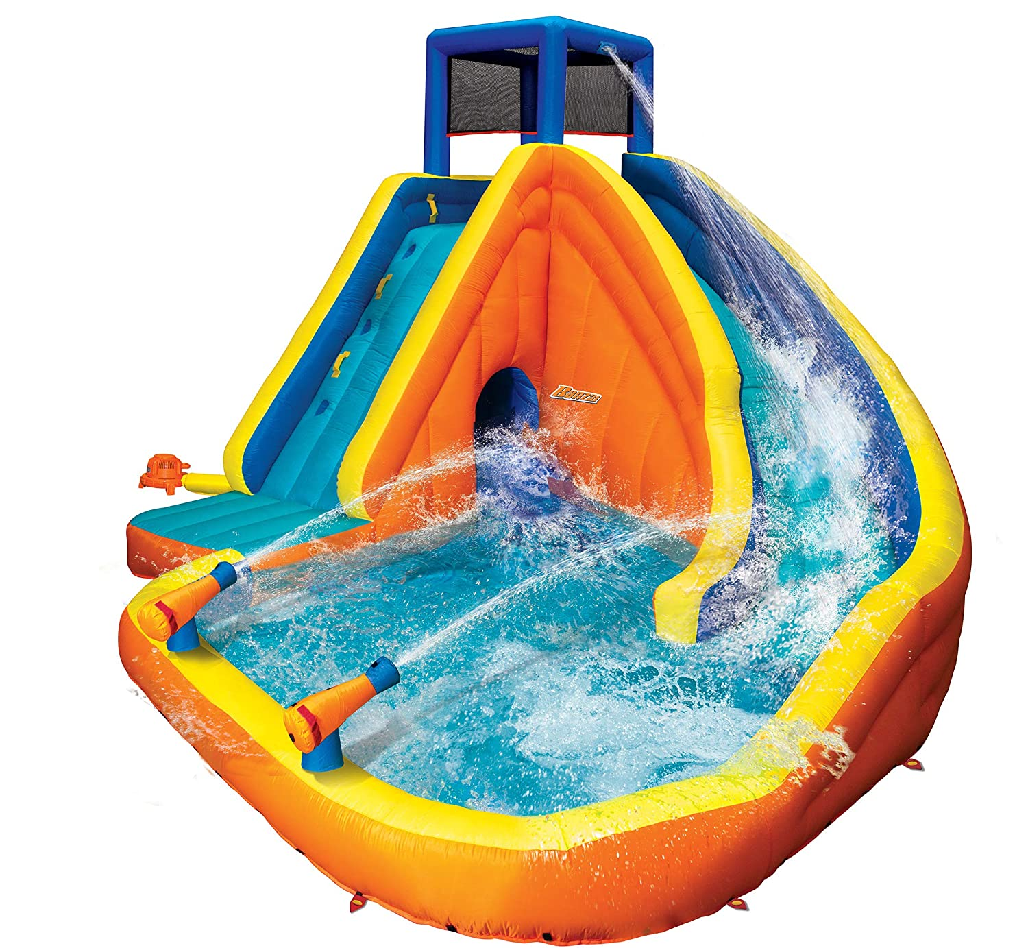 BANZAI 90494 Sidewinder Falls Inflatable Water Slide with Tunnel Ramp Slide