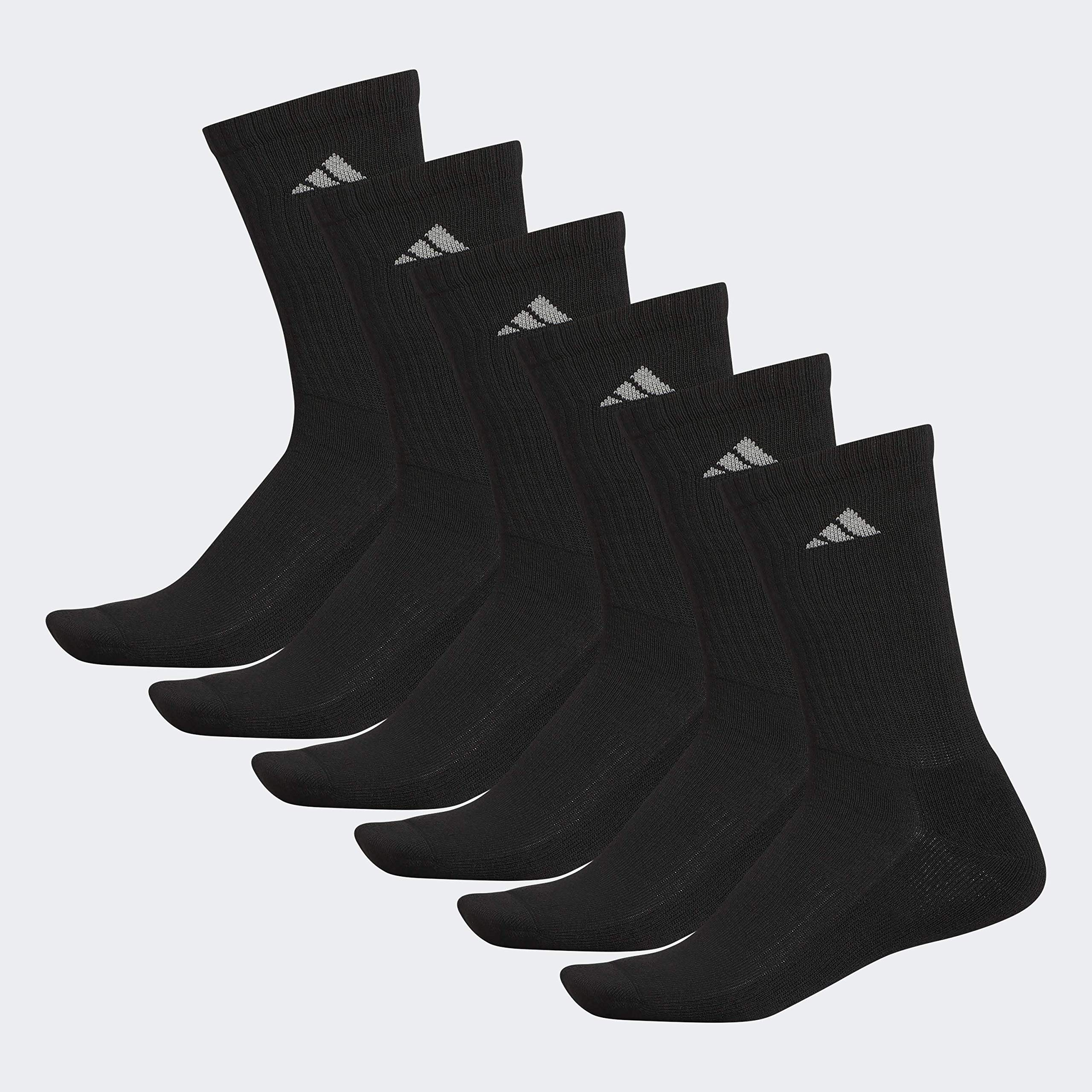 adidas Men's Athletic 6-Pack Crew Socks, Black/Aluminum 2, Large, (Shoe Size 6-12) by adidas