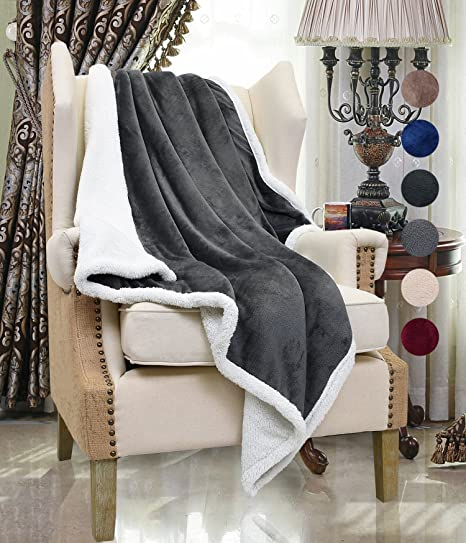 Sherpa Throw Blanket, Fluffy Sofa Throws Blanket, Reversible Mink Fleece  Blanket, Super Soft