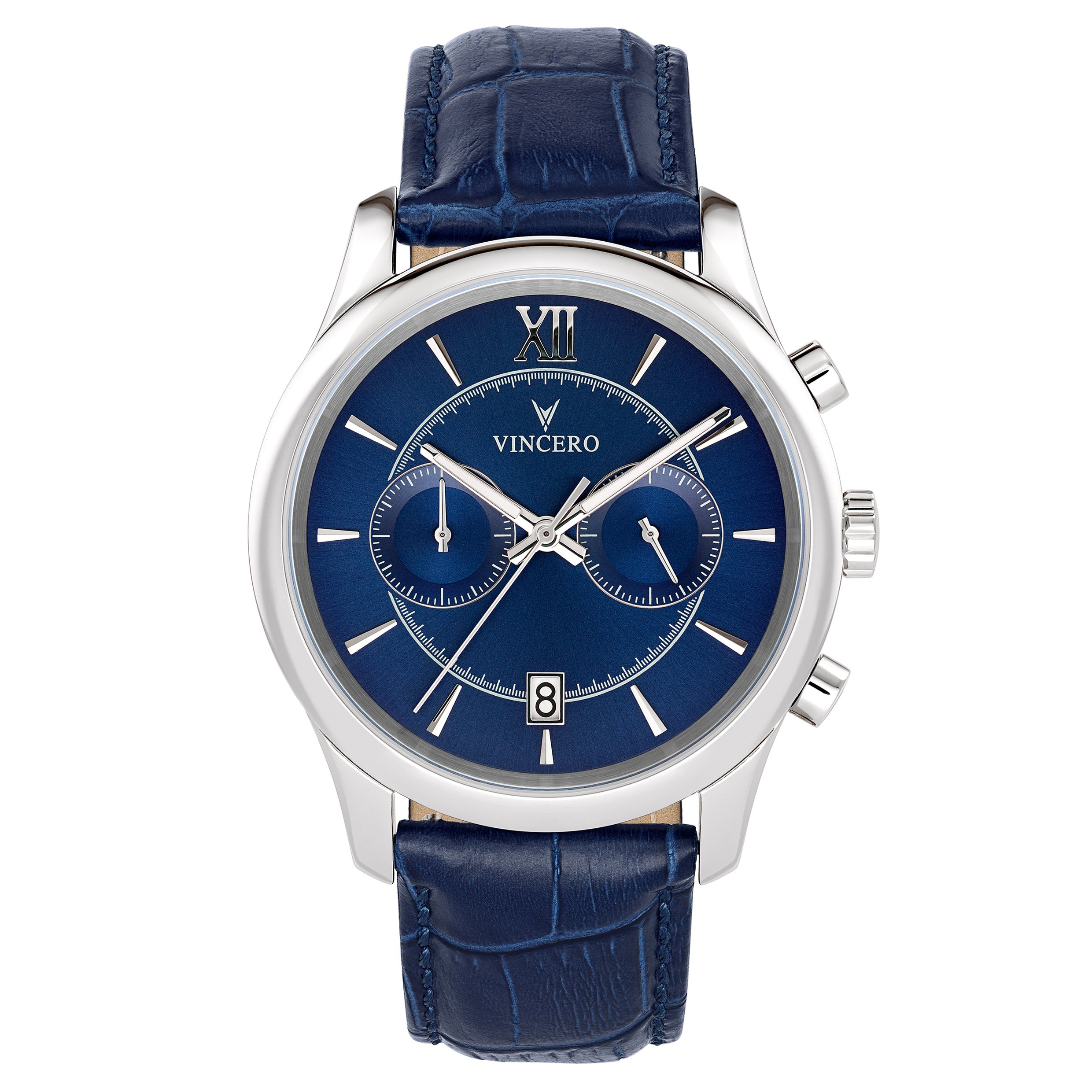 Vincero Men's Bellwether Blue & Silver Chronograph Watch with Leather Band by Vincero