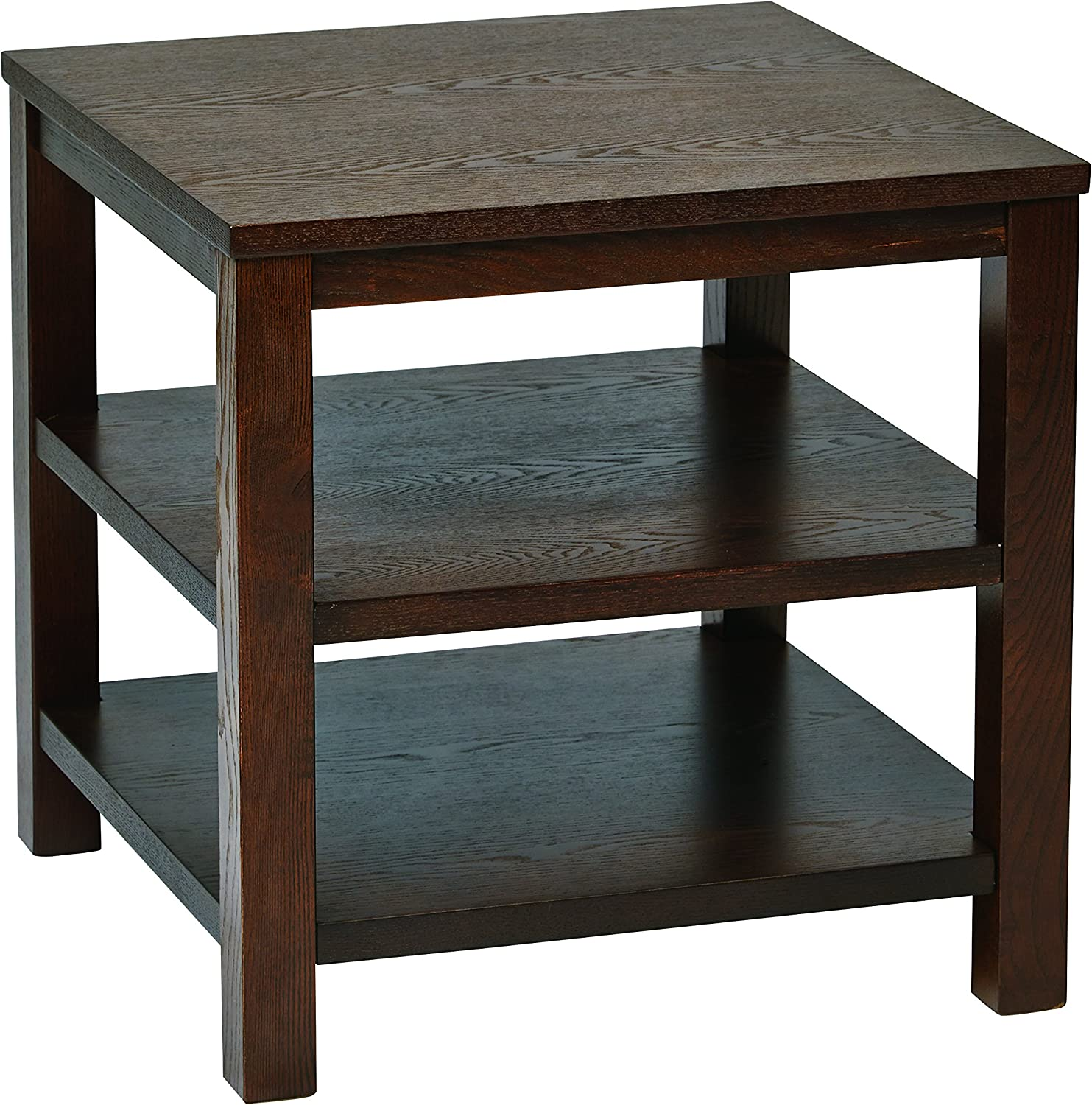 "OSP Home Furnishings Merge Square End Table, 20"", Espresso"