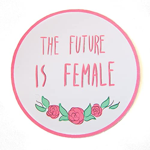 Ectogasm handmade the future is female pink roses feminist sticker