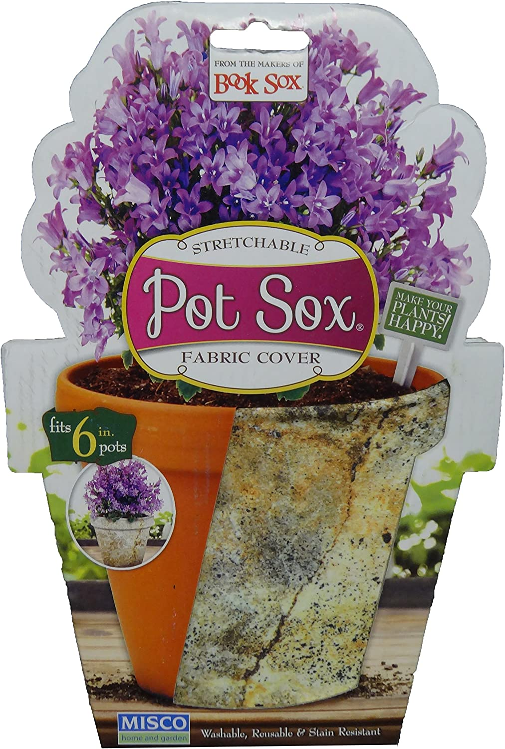 Misco Home and Garden Marbled Stone Pot Sox Flowerpot Cover, 6-Inch, Multicolored