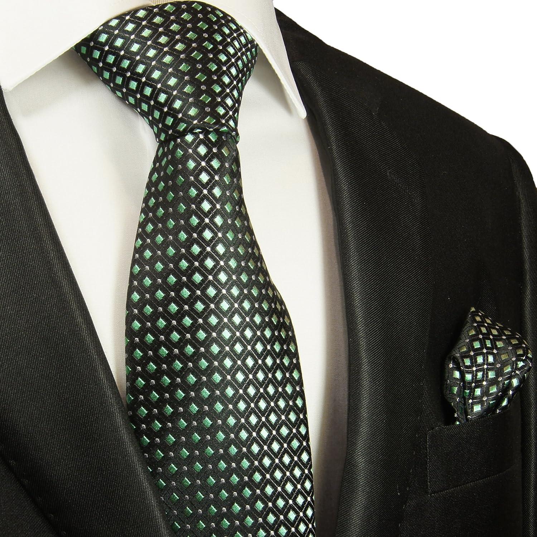 P.M. Krawatten Paul Malone Corbata de seda negro verde + pañuelo ...
