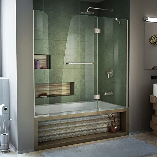 DreamLine Aqua 56-60 in. W x 58 in. H Frameless Hinged Tub Door with Extender Panel in Brushed Nickel, SHDR-3148586-EX-04
