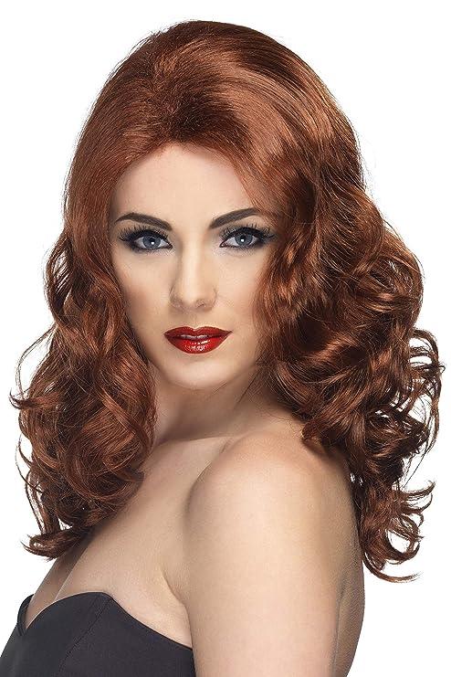 Smiffys Smiffys Peluca glamurosa, castaña rojiza, larga y ondulada Color, Tamaño único 42145