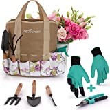 Garden Tools Set - 9 Piece Gardening Kit - Easy to Carry Tote Bag - Pretty Floral Design - Ergonomic Wooden Handle - Heavy Duty - Bonus Gloves and Cutter - Machine Washable - Great as a Gift