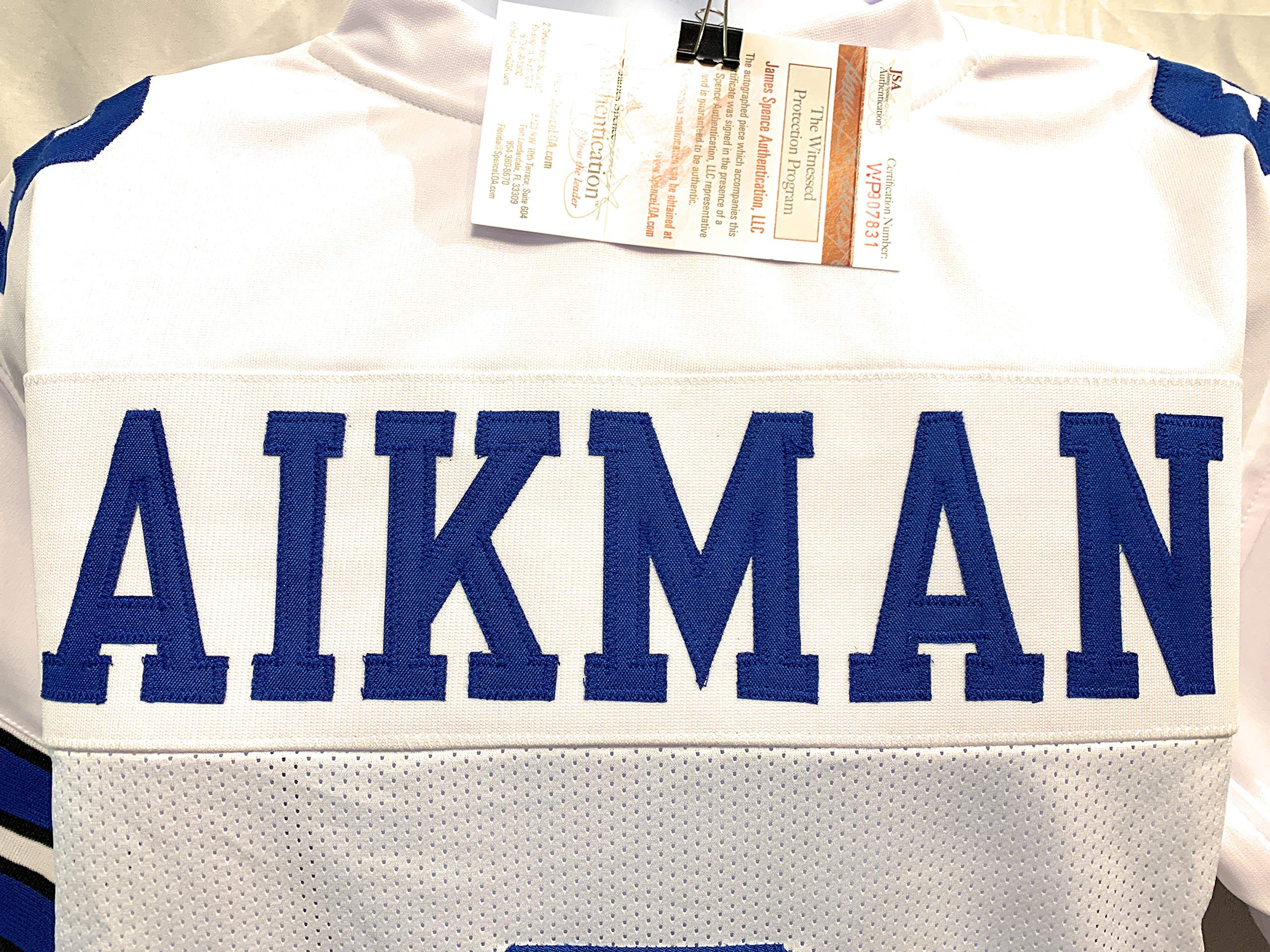 Troy Aikman Dallas Cowboys Signed Autograph White Custom Jersey Aikman GTSM Hologram Certified JSA Witnessed Certified