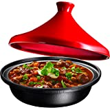 Cast Iron Moroccan Tagine Pot, Enameled Fire Red, 4 Quart, By Bruntmor