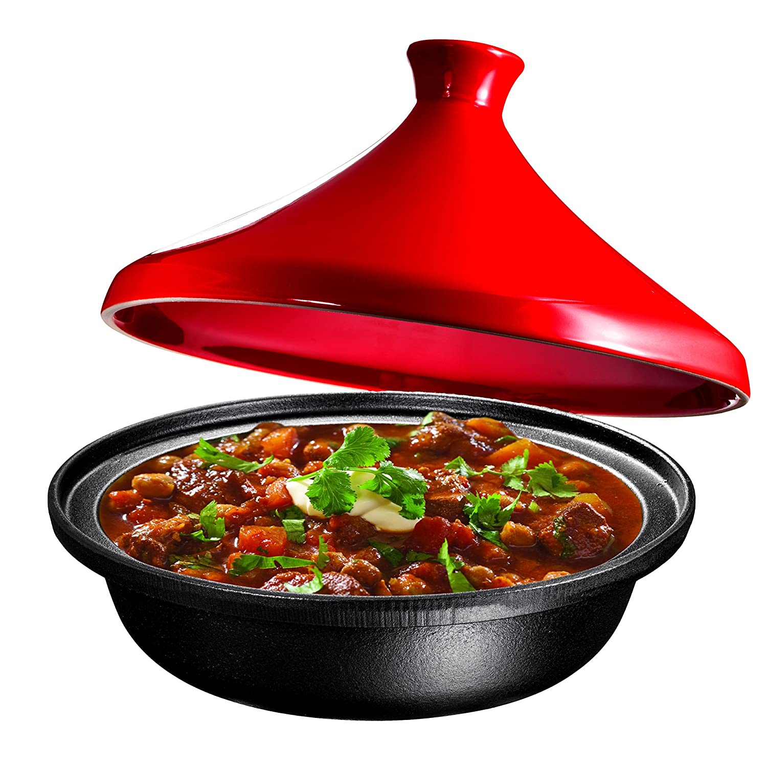 Cast Iron Moroccan Tagine Pot, Enameled Fire Red, 4 Quart, by Bruntmor BR3803