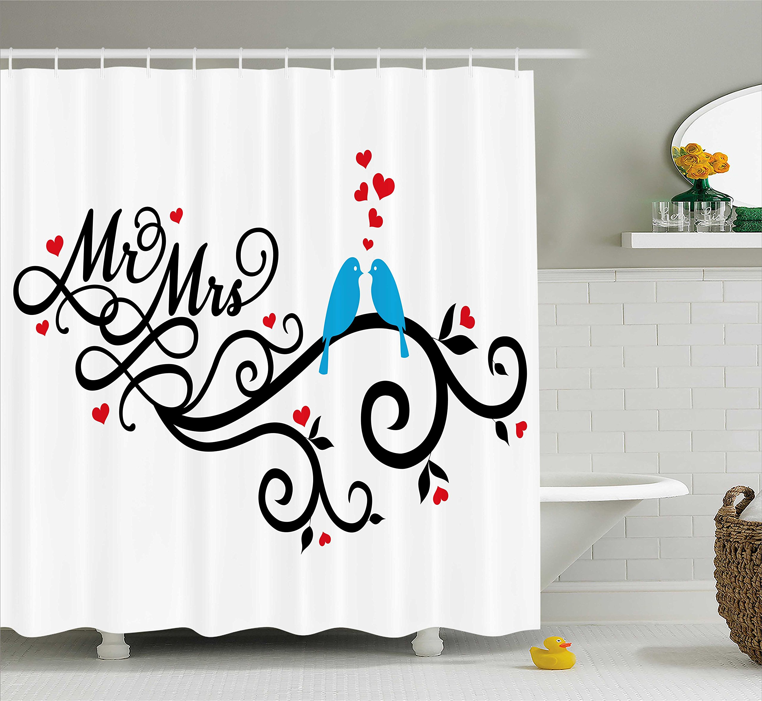 Ambesonne Wedding Decorations Shower Curtain, Mr. and Mrs. Swirled Branches with Red Hearts and Two Birds Love Valentine's, Fabric Bathroom Decor Set with Hooks, 70 Inches, Red Blue Black