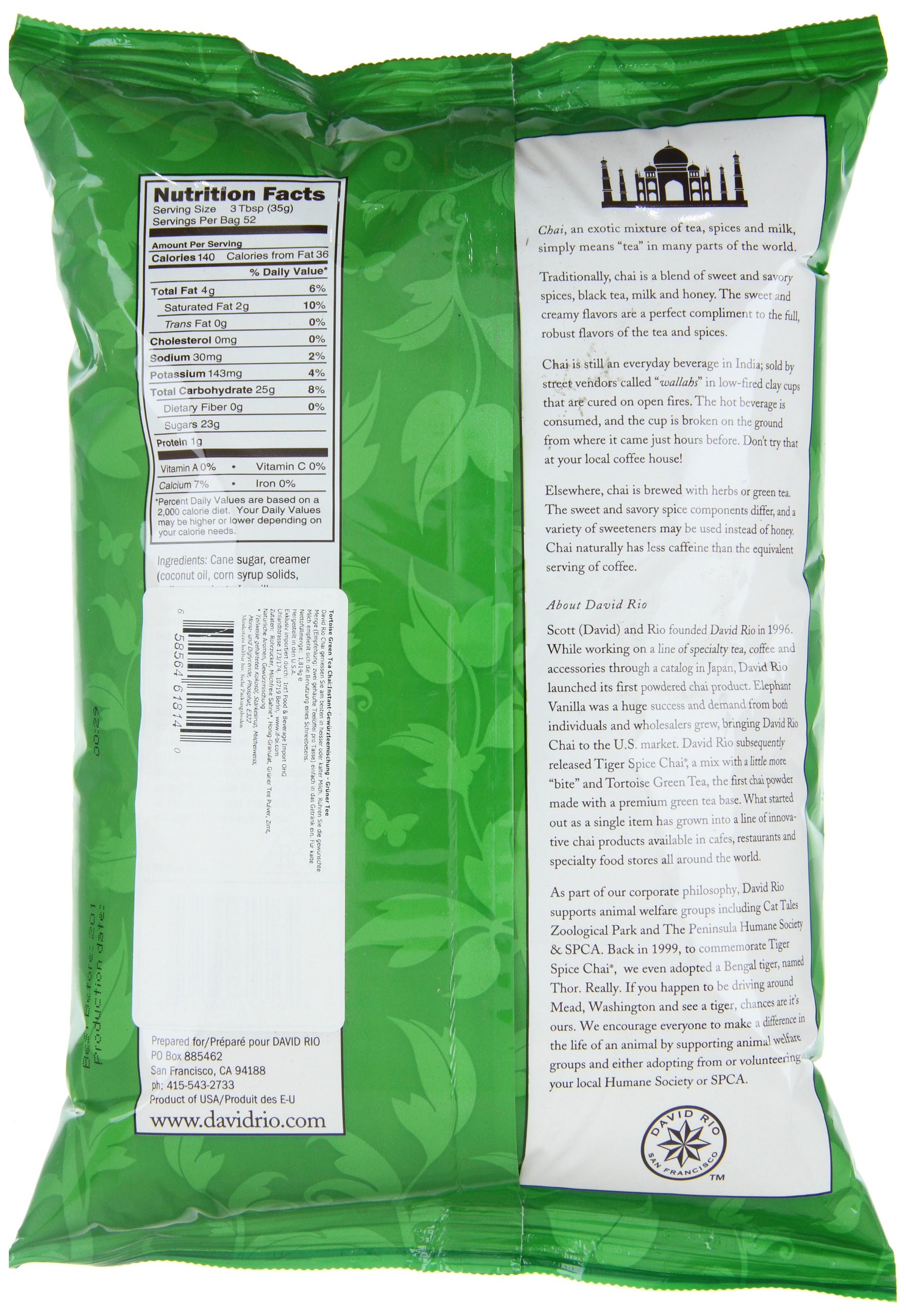 Tortoise Green Tea Chai, 4lb. Bag by David Rio