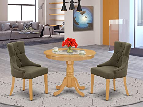 Amazon Com East West Furniture 3pc Dinette Set Includes A Small Rounded Kitchen Table And Two Parson Chairs With Dark Gotham Grey Fabric Oak Finish Furniture Decor
