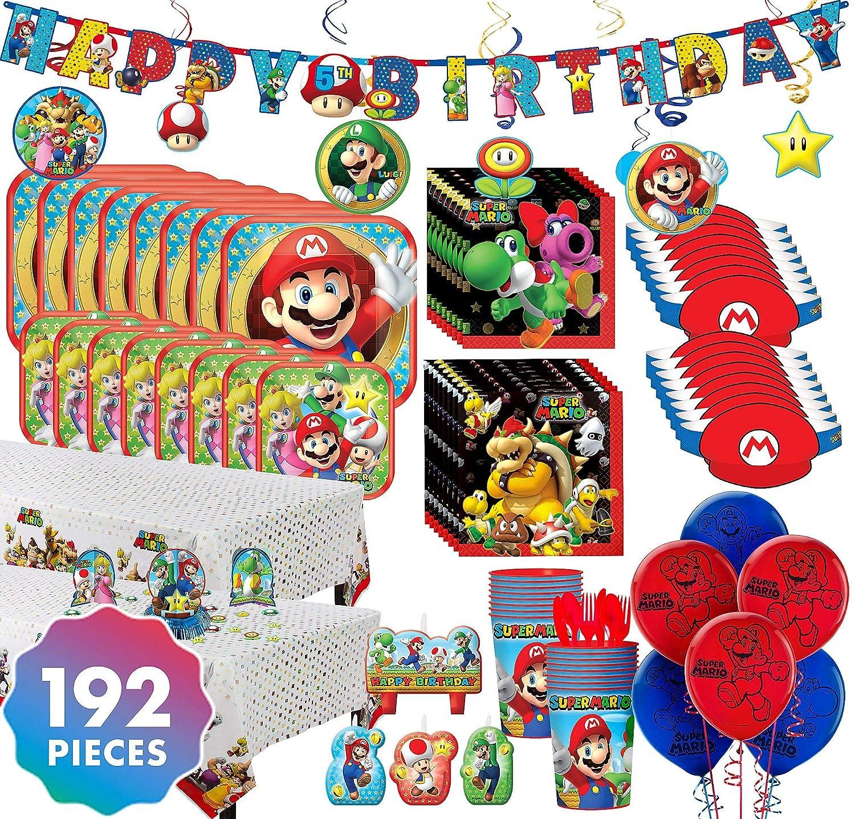 Party City Super Mario Kit de fiesta para 16 invitados, 192 ...