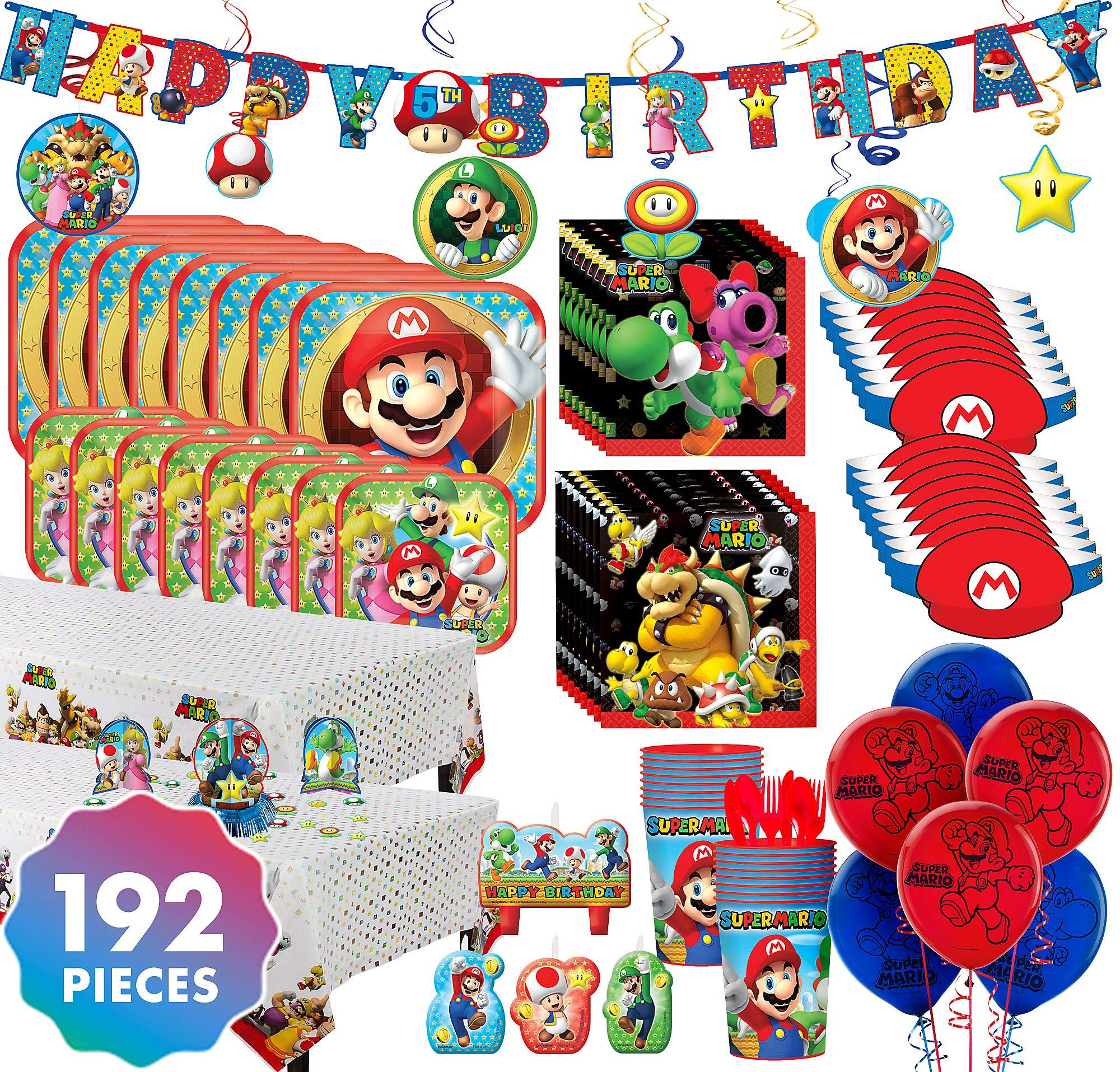 Party City Super Mario Ultimate Party Kit for 16 Guests, 192 Pieces, Includes Tableware, Decorations, Hats, and Balloons