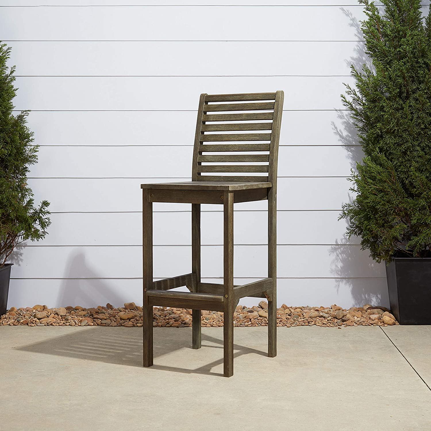 Vifah V1354 Renaissance Outdoor Hand-Scraped Hardwood Bar Chair