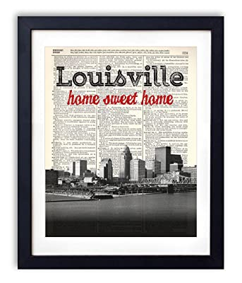 Louisville Home Sweet Home Vintage Upcycled Dictionary Art Print 8x10
