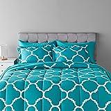 Amazon Basics 7-Piece Light-Weight Microfiber Bed-In-A-Bag Comforter Bedding Set - Full/Queen, Teal Trellis