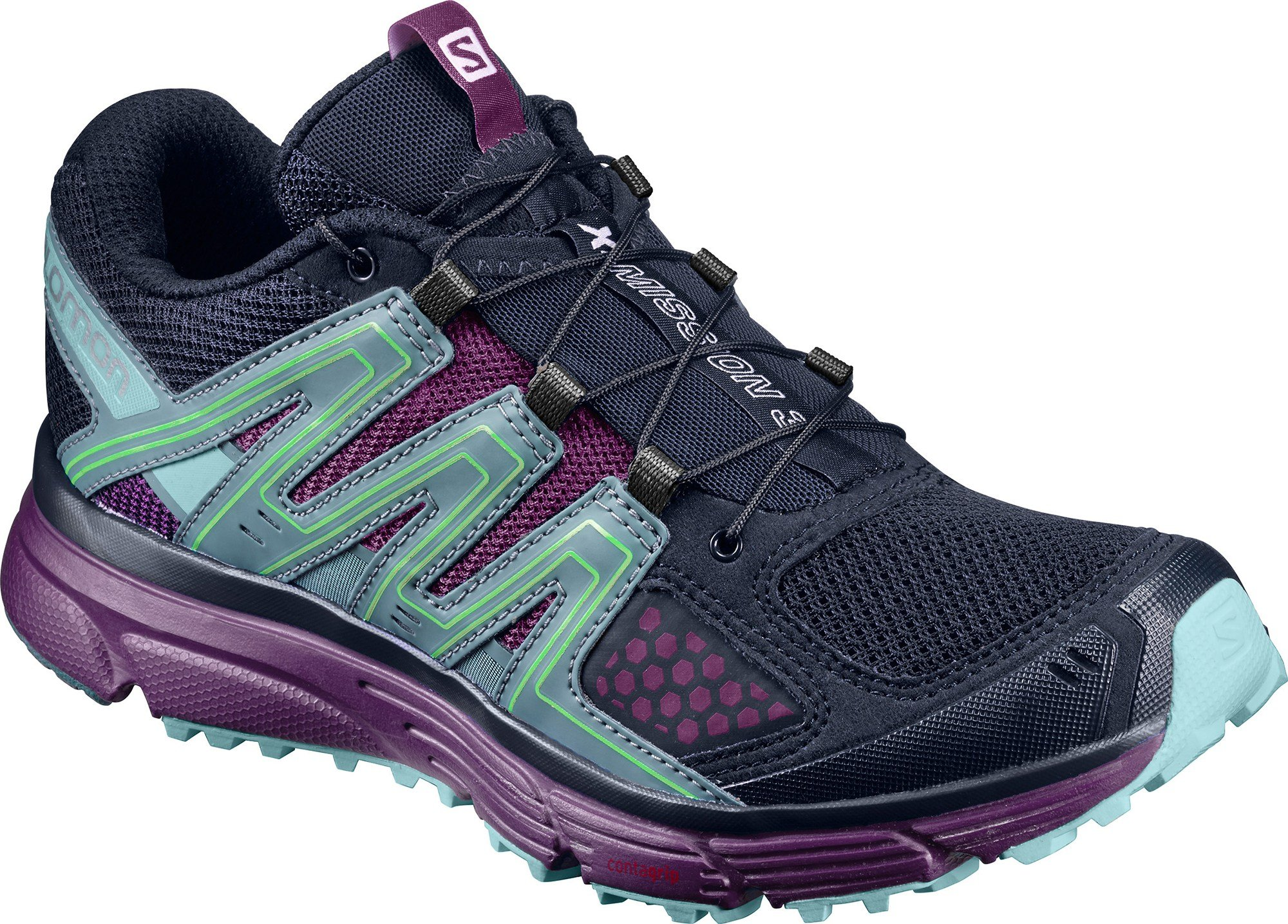 Salomon Women's X-Mission 3 Trail Running Shoe,Navy Blazer/Grape Juice/North Atl