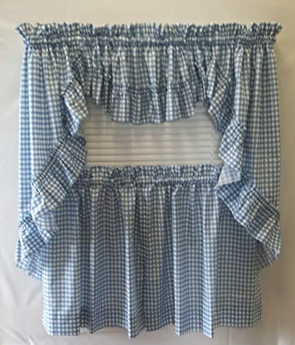 CAMBRIDGE CURTAIN Mary Gingham Blue, Tiers 56 W X36 L