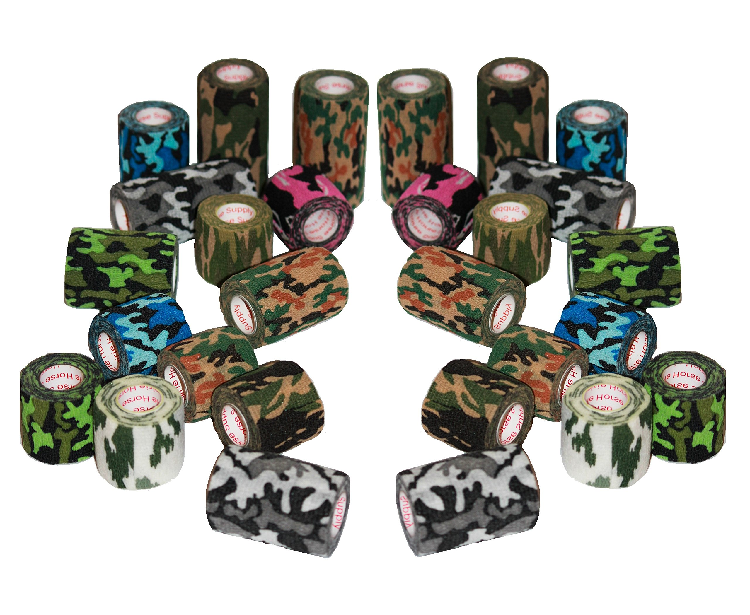 Camo Vet Wrap Tape Bulk 2'', 3'', or 4'' inches x 15' Feet (6, 12, 18 or 24 Rolls) Assorted Camouflage Colors Waterproof Outdoor Self Adhesive Adherent Veterinary Stick Hunting Gun Horse Grip Rap Tape