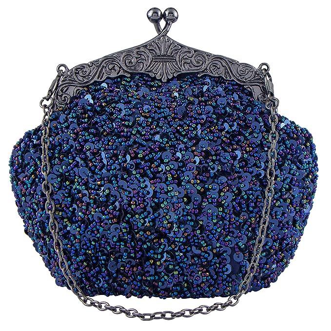 Bagood - Cartera de mano de satén para mujer azul azul Talla única: Amazon.es: Ropa y accesorios