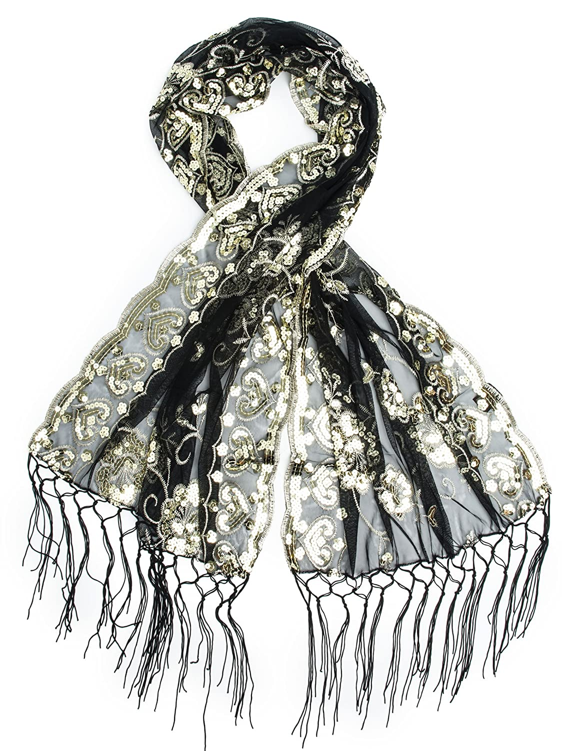 Vintage Scarves- New in the 1920s to 1960s Styles  Madison Long Fringe Sequin Evening Wrap $18.95 AT vintagedancer.com