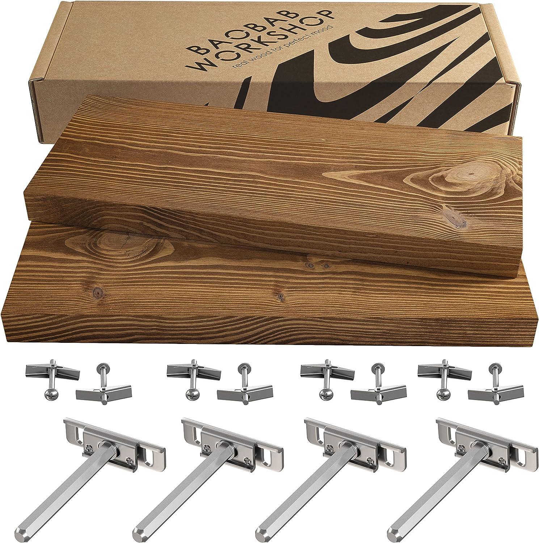 BAOBAB WORKSHOP Floating Wood Shelves Set of 2 - Rustic Shelf 16 inch - Handcrafted in Europe - Wide Wooden Wall Shelves for Living Room Bedroom Kitchen Bathroom Farmhouse - Walnut Color - 16