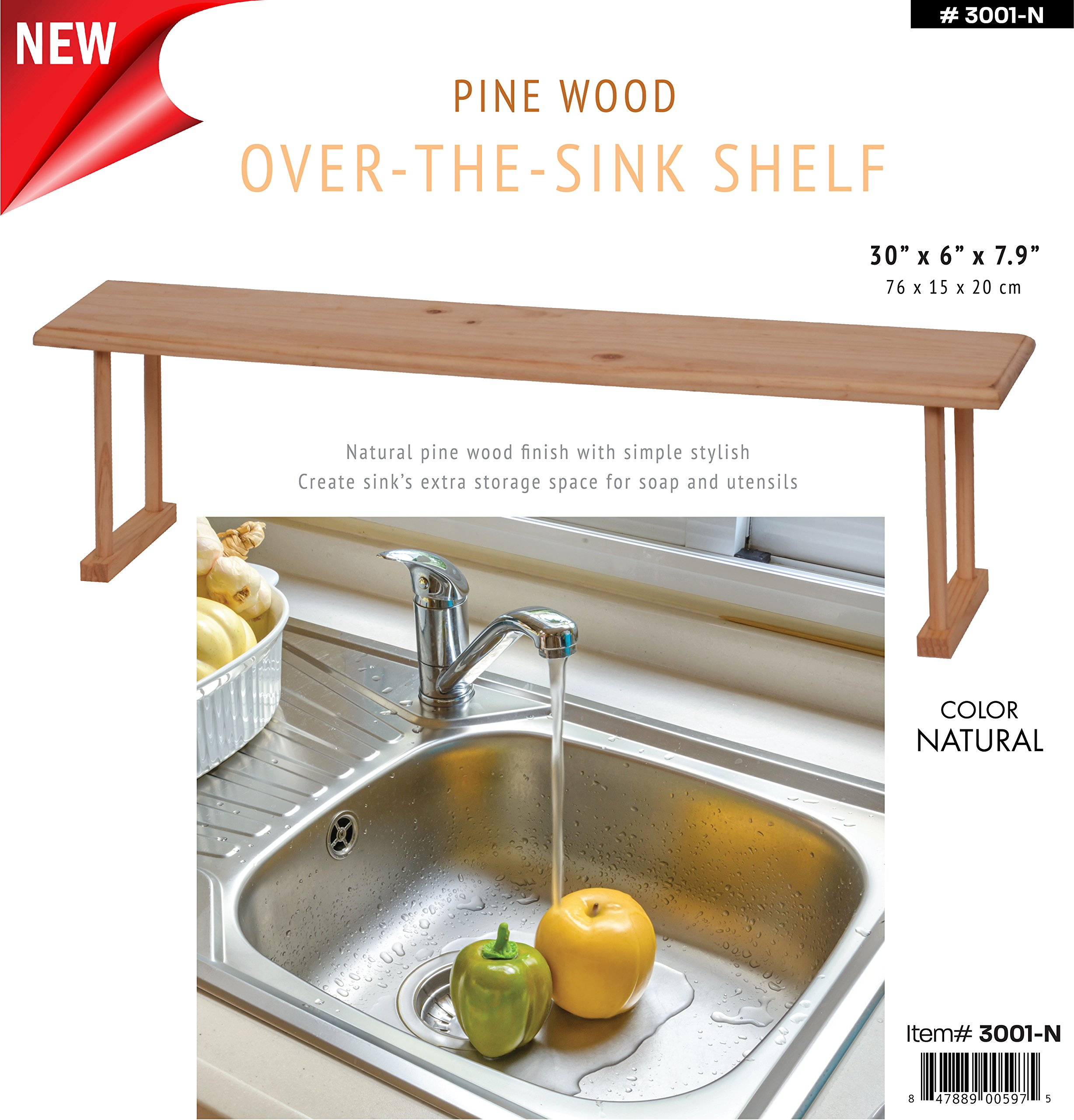 Wee's Beyond 3001-N Wood Over the Sink Storage Shelf, Natural